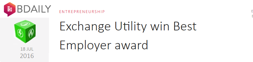 Exchange Utility win Best Employer award