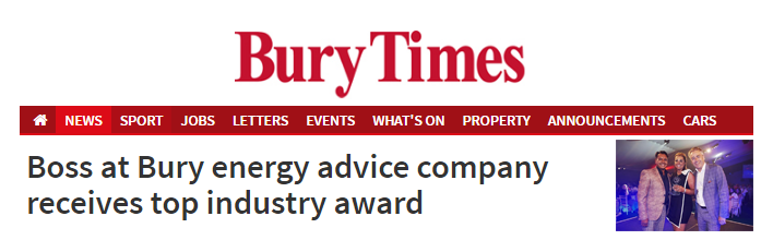 Boss at Bury energy advice company receives top industry award