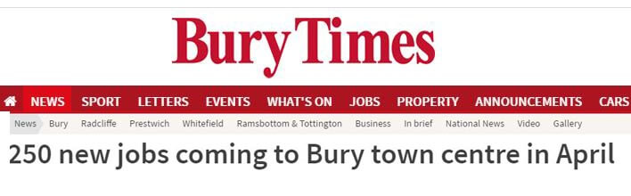 250 new jobs coming to Bury town centre in April